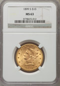 Liberty Eagles: , 1899-S $10 MS63 NGC. NGC Census: (68/15). PCGS Population (67/18). Mintage: 841,000. Numismedia Wsl. Price for problem free...