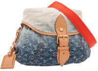 "Louis Vuitton Monogram Ombre Blue Denim Sunburst Crossbody Bag Excellent Condition 13"" Width x 9"