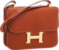"Luxury Accessories:Bags, Hermes 25cm Brique Chevre Leather Constance Bag with Gold Hardware. Very Good to Excellent Condition . 9"" Width x 6"" H..."