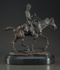 Fine Art - Sculpture, American:Contemporary (1950 to present), Attributed to CHARLES MARION RUSSELL (American, 1864-1926). WillRogers. Bronze. 10 inches (25.4 cm) high on a 1-3/4 inc...