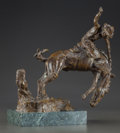 Fine Art - Painting, Russian, Attributed to CARL KAUBA (Austrian, 1865-1922). Cowboy onRearing Horse. Bronze with brown patina. 10 inches (25.4 cm)h...
