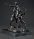 Sculpture, Attributed to CARL KAUBA (Austrian, 1865-1922). Two Cowboys. Bronze with brown patina. 11 inches (27.9 cm) high on a 1-1...