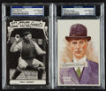 Baseball Collectibles:Others, Bill Dickey and Connie Mack Signed Postcards (2)....