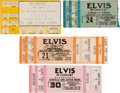 Music Memorabilia:Tickets, Elvis Presley Concert Ticket Group (1976-77).... (Total: 4 Items)