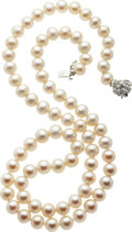 Estate Jewelry:Necklaces, Freshwater Cultured Pearl, Diamond, White Gold Necklace. ...