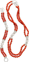 Estate Jewelry:Suites, Coral, Diamond, White Gold Jewelry Suite. ... (Total: 2 Items)