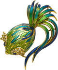 Estate Jewelry:Brooches - Pins, Diamond, Sapphire, Enamel, Gold Brooch, Tiffany & Co.. ...