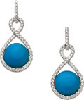 Estate Jewelry:Earrings, Turquoise, Diamond, White Gold Earrings, Eli Frei. ...