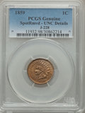 1859 P1C Indian Cent, Judd-228, Pollock-272, R.1, -- Spot Removed -- PCGS Genuine. Unc Details....(PCGS# 11932)