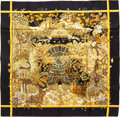 "Luxury Accessories:Accessories, Hermes 90cm Black & Gold ""Jardins d'Hiver,"" by Annie Faivre Silk Scarf. Pristine Condition. 36"" Width x 36"" Length. ..."