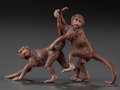 Decorative Arts, Continental:Other , AN AUSTRIAN EROTIC COLD-PAINTED BRONZE MONKEY FIGURAL GROUP AFTERFRANZ BERGMAN, Austria, 20th century. Marks: FB (withi...