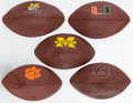 Football Collectibles:Balls, Official Size Wilson College Logo Footballs Lot of 5. ...