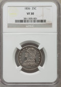 Bust Quarters: , 1836 25C VF30 NGC. NGC Census: (17/108). PCGS Population (39/178). Mintage: 472,000. Numismedia Wsl. Price for problem free...