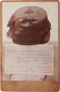 Military & Patriotic:Civil War, Cabinet Card Photograph of the Hat Shot From the Head of Corporal Daniel Chisholm, Battle of Wilderness, Virginia....