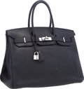 "Luxury Accessories:Bags, Hermes 35cm Black Togo Leather Birkin Bag with Palladium Hardware.Very Good Condition. 14"" Width x 10"" Height x 7""De..."
