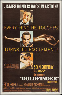 "Goldfinger (United Artists, 1964). One Sheet (27"" X 41"") Matte Style. James Bond"