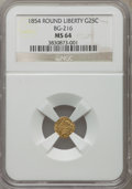 California Fractional Gold , 1854 25C Liberty Round 25 Cents, BG-216, R.6, MS64 NGC....