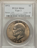 Eisenhower Dollars, 1972 $1 Type Two MS64 PCGS. PCGS Population (501/66). Numismedia Wsl. Price for problem free NGC/PCGS c...