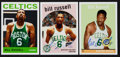 Basketball Cards:Lots, Bill Russell Signed Cards Lot of 3....