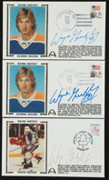 Hockey Collectibles:Others, Wayne Gretzky Signed Cachets Lot of 3....