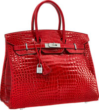 Hermes Extraordinary Collection 35cm Diamond, Shiny Braise Porosus Crocodile Birkin Bag with 18K White Gold Hardware&...