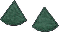 "Hermes Vert Clair Courchevel Triangle Clip-On Earrings Excellent Condition 1.25"" Width x 1.25"" He"