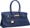 "Luxury Accessories:Bags, Hermes 42cm Indigo Clemence Leather JPG Shoulder Birkin II Bag with Gold Hardware. Excellent Condition. 16.5"" Width x ..."