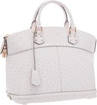 "Louis Vuitton White Ostrich Lockit MM Bag Excellent Condition 14"" Width x 11.5"" Height x 7"" Dept"