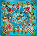 "Luxury Accessories:Accessories, Hermes 90cm Blue ""Kachinas,"" by Annie Faivre Silk Scarf.Pristine Condition. 36"" Width x 36"" Length. ..."