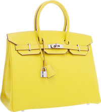 Hermes Limited Edition Candy Collection 35cm Lime & Gris Perle Epsom Leather Birkin Bag with Palladium Hardware