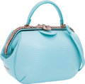 """Luxury Accessories:Bags, Bulgari Turquoise Lizard Serpenti Frame Bag with Rose Gold Hardware. Excellent Condition. 9.5"""" Width x 6"""" Height x 3"""" ..."""