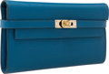 """Luxury Accessories:Bags, Hermes 20cm Blue Saphir Graine d'H Kelly Long Wallet with GoldHardware. Very Good Condition. 8"""" Width x 4.5"""" Heightx..."""