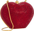 "Luxury Accessories:Bags, Judith Leiber Full Bead Red Crystal Heart Minaudiere Evening Bag.Excellent Condition. 5"" Width x 3.5"" Height x 2.5""D..."
