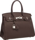 """Luxury Accessories:Bags, Hermes 30cm Chocolate Togo Leather Birkin Bag with PalladiumHardware. Excellent Condition. 12"""" Width x 8"""" Height x6""""..."""