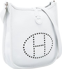 "Hermes White Clemence Leather Evelyne TPM Bag Excellent Condition 6.5"" Width x 7"" Height x 2"" Dep"