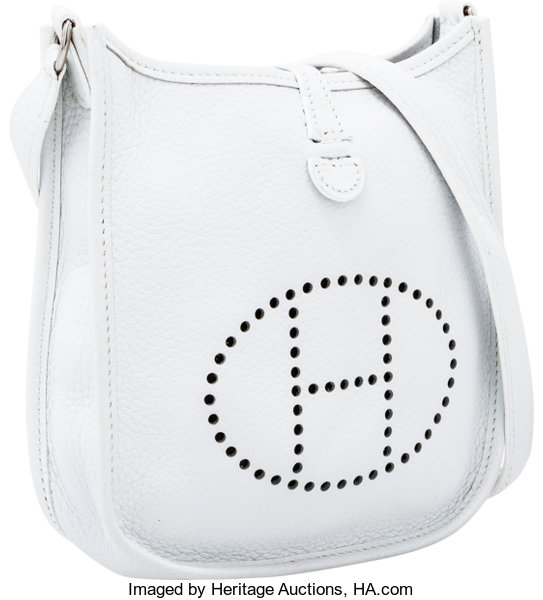 f3b847a8baed Hermes White Clemence Leather Evelyne TPM Bag. Excellent Condition ...