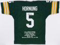 Football Collectibles:Uniforms, Paul Hornung Signed Green Bay Packers Jersey....