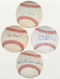 Autographs:Baseballs, 1990's Stan Musial, Bob Gibson, Red Schoendienst & Lou BrockSingle Signed Baseballs Lot of 4....