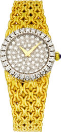 Timepieces:Wristwatch, Baume & Mercier Lady's Diamond, Gold Integral Bracelet Wristwatch, circa 1990. ...