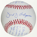 Autographs:Baseballs, Circa 2000 Fred Caligiari Single Signed Baseball With LengthyNotations re: Ted Williams' Last Hits of 1941 Season....
