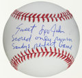 Autographs:Baseballs, Circa 2000 Sweet Lou Johnson Single Signed Baseball With SandyKoufax Perfect Game Inscription....