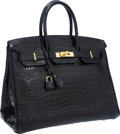 "Luxury Accessories:Bags, Hermes 35cm Matte Black Porosus Crocodile Birkin Bag with GoldHardware. Very Good to Excellent Condition. 14"" Widthx..."