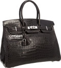 Luxury Accessories:Bags, Hermes Special Order Horseshoe 35cm Shiny Graphite & ArdoisePorosus Crocodile Birkin Bag with Palladium Hardware.Pristin...