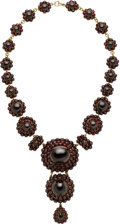 Estate Jewelry:Necklaces, Antique Garnet, Gilt Metal Necklace. ...
