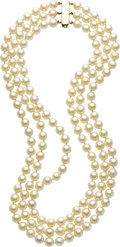 Estate Jewelry:Pearls, Cultured Pearl, Gold Necklace. ... (Total: 2 Items)
