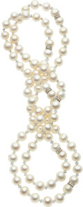 Estate Jewelry:Necklaces, Freshwater Cultured Pearl, Sapphire, White Gold Necklace. ...