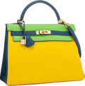 Luxury Accessories:Bags, Hermes Special Order 32cm Vert Cru, Jaune & Blue Thalassa Clemence Leather Retourne Kelly with Gold Hardware. Very Good to...