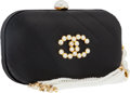 "Luxury Accessories:Bags, Chanel Black Satin Clutch Bag with Pearl Tassel . Very Good toExcellent Condition . 6.5"" Width x 4"" Height x 1.5""Dep..."
