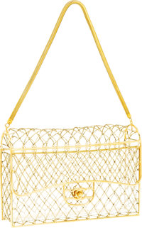 """Chanel Gold Cage Beaded Medium Flap Bag with Gold Hardware Very Good to Excellent Condition 10"""" Width x 6"""