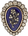 Estate Jewelry:Brooches - Pins, Victorian Diamond, Enamel, Silver-Topped Gold Locket-Brooch. ...
